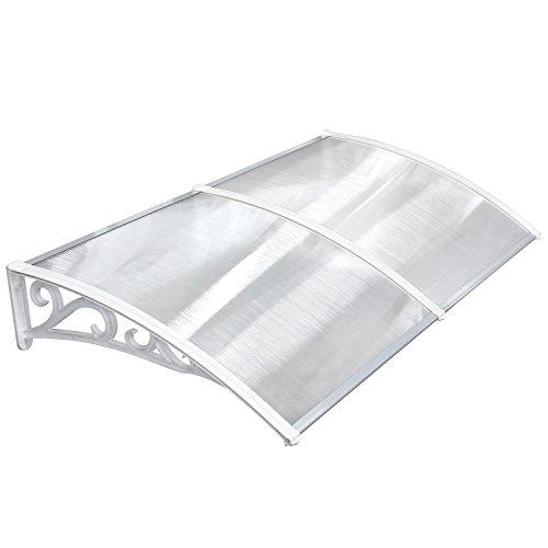 MVPOWERVordachfürHaustür190x98.5x28cm,ÜberdachungHaustürvordach,TürvordachPultbogenvordach,Hohlkammerstegplatten5mm,Polycarbonat,transparent, SonnenschutzRegenschutzfürdraußen,weiß