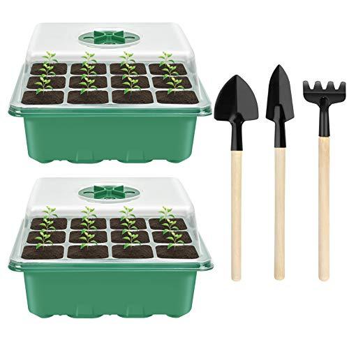 2 Stück Zimmergewächshaus Anzucht, Mini Gewächshaus Anzucht Set, Anzuchtschale mit Deckel, Kunststoff Anzuchtschalen mit 3 Gartengeräte Klein, 12 Löchern, Ideal für Pflanzenwachstum und Saatgutkeimung
