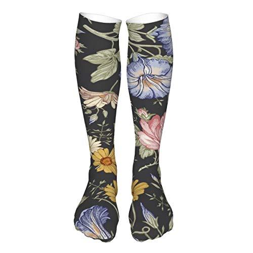 iksrgfvb Patrón sin costuras. Hermosas flores de tela floreciendo realistas aisladas Admite cojines gruesos en calcetines de pantorrilla de 3 x 50 pulgadas