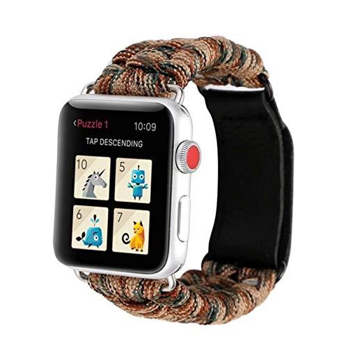 Correa de cuerda de nailon para Apple Watch, correa de pulsera de cuero para iWatch Series 6 / SE / 5/4/3/2/1-marrón, 38 mm o 40 mm