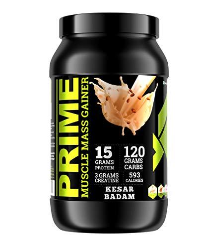 Bigflex Prime Muscle Mass Gainer 1kg [Kesar Badam Flavour] High Protein and High Calorie Mass Gainer, Weight Gainer, 2 scoops, 30g Protein, 1186 calories, 120g carbohydrates, 3G Creatine, Digestive Enzymes, 250 mg Ashwagandha, Vitamin C, Zinc, Vitamin B1 B2 B6, Lab tested