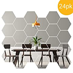 DECORATIVE MIRRORS – Our mirror tiles, hexagon shaped, are great for making your walls modern and making your room seem bigger and more open. Create a fashionable beehive shape or use wall mirror stickers individually. EASY TO APPLY – Remove the pape...