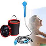 QHYXT Portable Camping Shower Set,USB Car Shower DC 12V Pump Pressure Shower Outdoor Camp Travel Automobile Shower with Folding Bucket,Pet and Car Washer,Baby Bathing