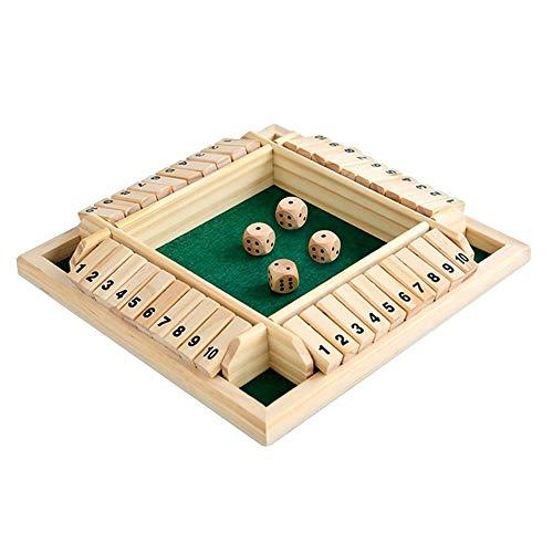 MiOYOOW Juego de dados de madera, juego Flop digital para 4 personas, juego de mesa para la familia de los niños