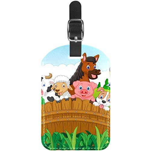 Etiquetas de equipaje de piel de animales de granja de dibujos animados para maleta de viaje, 1 paquete