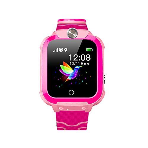 Kinderuhr Digital Smart Watch Kinder LPS Ortung Telefon Smartwatch Mit Spiele Kinder Handy Kinderuhr Anruf Funktion Schrittzähler Kinder Telefon Wasserdicht (Temp Pink)