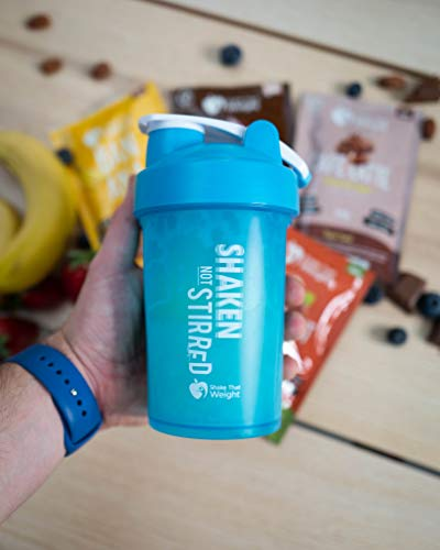 Shake That Weight 450ml Protein Shaker - Blue - with Storage Attachment for Protein and Diet Shake Powder, Wire Ball Mixer, Bag Attachment Loop