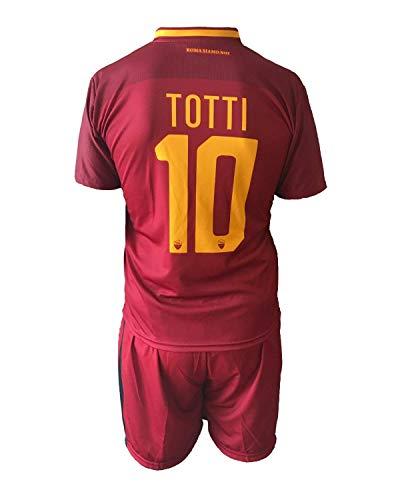Completo Totti Roma 2018 Ufficiale stagione 2017/2018 Replica Autorizzata Francesco Totti numero 10 AS Roma Maglia + Pantaloncini (4 anni)
