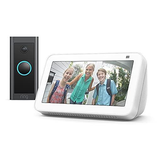 Der neue Echo Show 5 (2. Generation, 2021) + Ring Video Doorbell Wired von Amazon, Funktioniert mit Alexa, Weiß