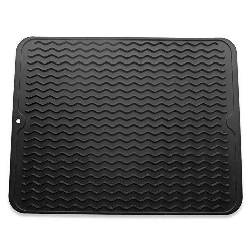 Abtropfmatte aus Silikon, umweltfreundlich, hitzebeständig und rutschfest Large 40cm*30cm Schwarz