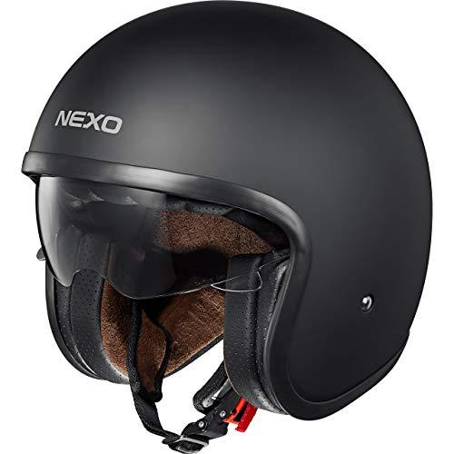 Nexo Jethelm Motorradhelm Helm Motorrad Mopedhelm Urban Style, Sonnenblende, Ratschenverschluss, herausnehm-, waschbare Wangenpolster, 1.050 g, Prüfung: ECE 22/05, matt schwarz, L