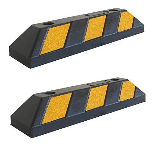 SNS SAFETY LTD Gummi Radstopp-Parkplatzbegrenzung für Parkplätze und Garagen, Farbe Schwarz-Gelb, Abmessungen 55x15x10 cm (2er Pack)