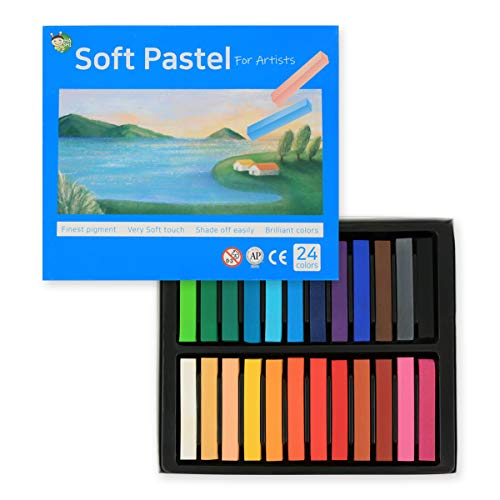 HASHI Non Toxic Long Soft Pastel Set for Professionals - Square Chalks Brilliant Assorted Colors (24 Colors)
