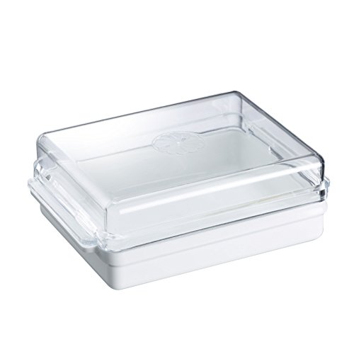 Westmark Kühlschrankbutterdose, 13 x 9 x 4,6 cm, Kunststoff, Traditionell, Weiß/Transparent, 20882241