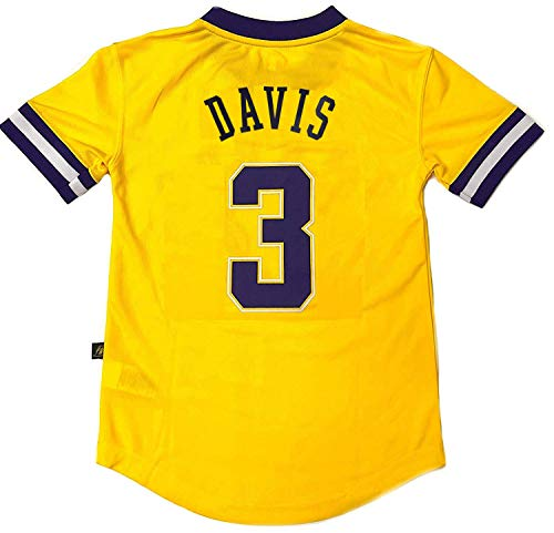 Outerstuff NBA Boys Youth 8-20 Short Sleeve Player Name & Number Performance Jersey (Youth Large 14-16, Anthony Davis Los Angeles Lakers)