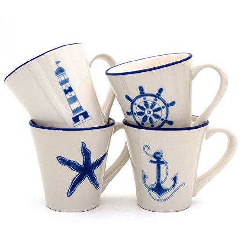 Euro Ceramica Ahoy Collection Nautical Ceramic Coffee/Tea Mugs, 13.5oz, Set of 4, Assorted Designs, Blue & White