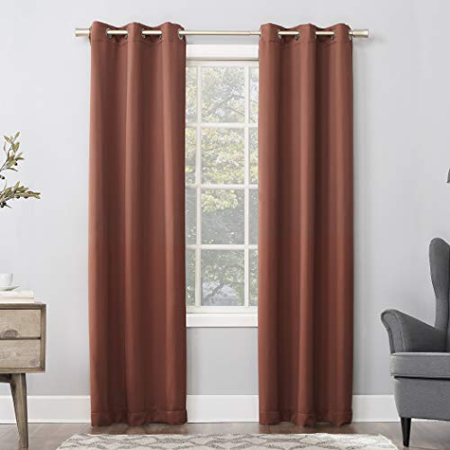 "Sun Zero Easton Blackout Energy Efficient Grommet Curtain Panel, 40"" x 63"", Terracotta Orange"