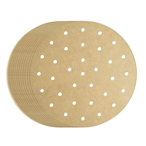 8 inch Air Fryer Parchment Paper Liners, 200pcs Round Unbleached Perforated Parchment Paper Perfect for 3.5-5.8QT Air Fryer, Steamer, Pans, Replacement for No More Cleaning, Brown