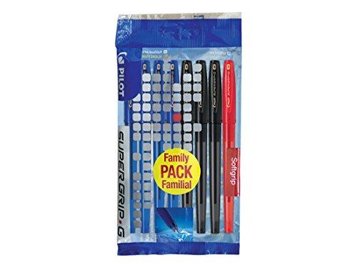 Pilot Supergrip G – Juego de 8 bolígrafos (punta media), color azul y negro y rojo