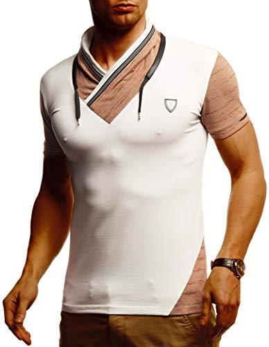 Leif Nelson Herren Sommer T-Shirt Stehkragen Slim Fit Casual Baumwolle-Anteil Cooles weißes schwarzes Männer Kurzarm-T-Shirt lang LN805 Beige Small