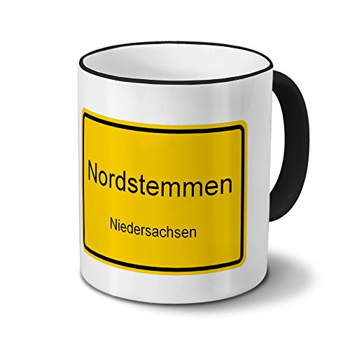 Städtetasse Nordstemmen - Design Ortsschild - Stadt-Tasse, Kaffeebecher, City-Mug, Becher, Kaffeetasse - Farbe Schwarz