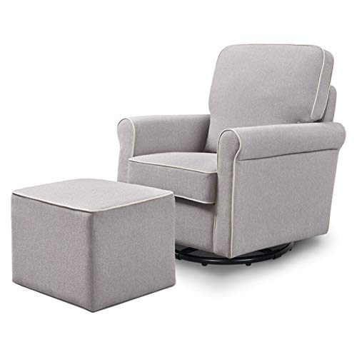 DaVinci Maya Upholstered Swivel Glider and Ottoman in Grey with Cream Piping, Greenguard Gold Certified