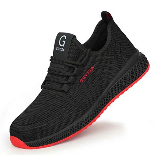 [KUDOON] 安全靴 スニーカー 作業靴 メンズ レディース メッシュ 鋼先芯 ミッドソール 超軽量 防滑 通気性 ソール つま先保護 防刺 耐摩耗 衝撃吸収 クッション性 工事現場 作業 通勤 アウトドア 防護靴 男女兼用 ブラックレッド 40