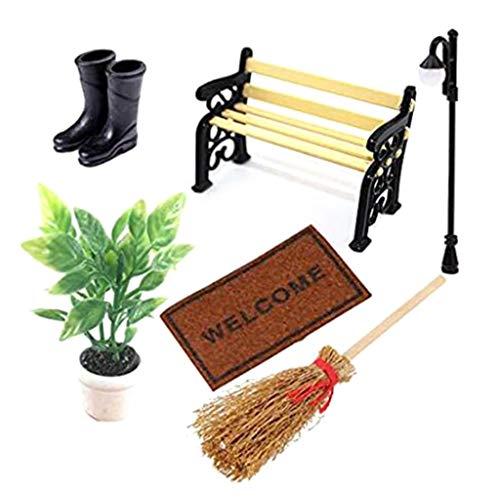 6Wcveuebuc 1: 12 Escala Casa de Muñecas Accesorios Miniatura Plantas Verde Botas Cepillo de Polvo Alfombra Lámpara