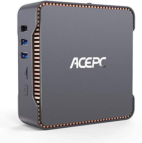 Mini-PC, ACEPC Windows 10 Pro, Intel Celeron N3350 Prozessor 8 GB RAM 128 GB ROM Kleinst-Desktop-Computer, Dualband-WLAN 2,4 G / 5 G, HDMI/VGA, Gigabit-Ethernet, Telearbeit AK3V