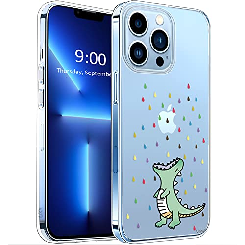 Unov Case Compatible with iPhone 13 Pro Case Clear with Design Embossed Pattern Soft TPU Bumper Slim Protective 6.1 Inch (Rainbow Dinosaur)