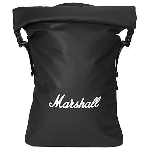 Marshall Travel – Rucksack Stormrider – wasserdicht, RollTop Verschluss – mit gepolstertem Laptop-Fach, gefüttert mit Samt – ideal für Fahrrad – Volumen 20 Liter, Farbe Schwarz, Logo Weiß