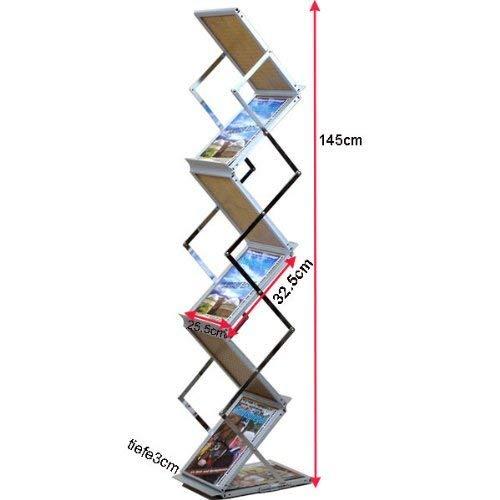 Loywe Prospektständer 6 Ebenen Faltbar, Holz-Design mit Aluminum Rahmen, mit Tragtasche, Prospekthalter Katalogständer Flyerständer Infoständer LW3523