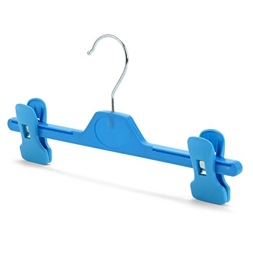 Hangerworld 20 Perchas 28cm para Niños Plástico Azul Pinzas Regulables para Pantalones Gancho Metal