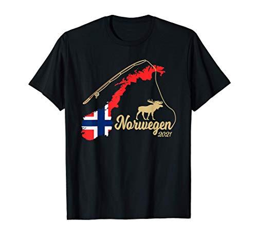 Norwegen Landkarte Angel Elch mit Angelrute 2021 T-Shirt