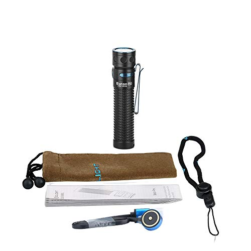 OLIGHT Baton Pro 2000 Lumens Rechargeable EDC Side-Switch LED Flashlight, Powered by 18650 Customized Lithium Battery, Black