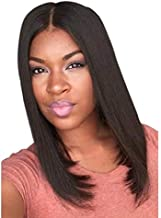 Natural Black Brown Long Hair Straight Wig 40CM-45CM