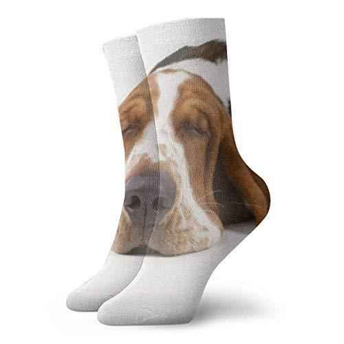 Basset Hound aislado en animales blancos novedad divertido Crazy Crew calcetín Cool Unisex deporte atlético calcetines 30 cm largo personalizado regalo calcetines 30 cm