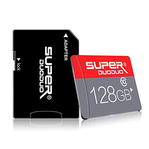 Micro SD Karte 128GB Speicherkarte mit Adapter Micro Speicherkarten für Kamera (Klasse 10 High Speed), TF Speicherkarte für Telefon Computer Spielkonsole, Dash Cam, Camcorder, GPS, Überwachung, Drohne