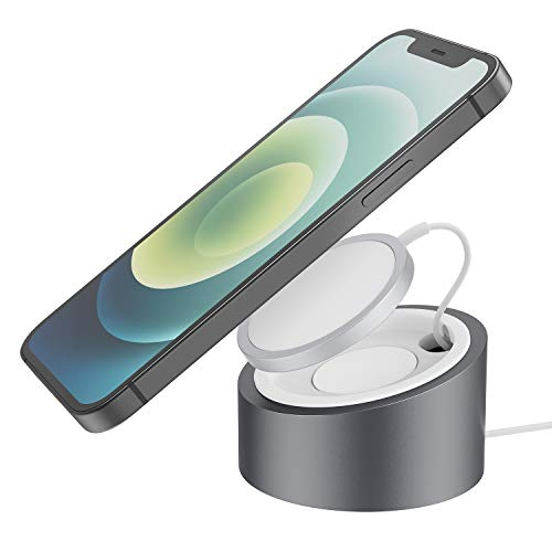 Stouchi Heavy-Duty Premium Metal Stand Compatible with Magsafe Charger Wireless Charging Holder Mount Base Desktop Dock for iPhone 12 MagSafe Magnetic Charger Grey