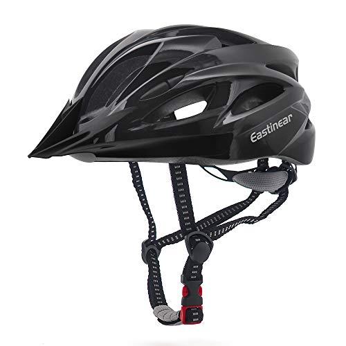 EASTINEAR Casco Bicicleta con Visera para Hombre Adulto Mujer Casco Bicicleta con Luz de Seguridad LED Cascos Ciclismo de Montaña y Carretera Tamano Ajustable M/L 22.8-24.4in (Negro)