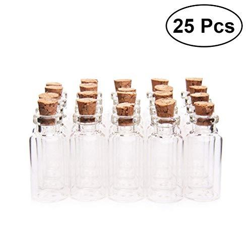 vorcool 25unidades Mini de Botella de cristal con corcho para mensaje boda fiesta 18x 40mm