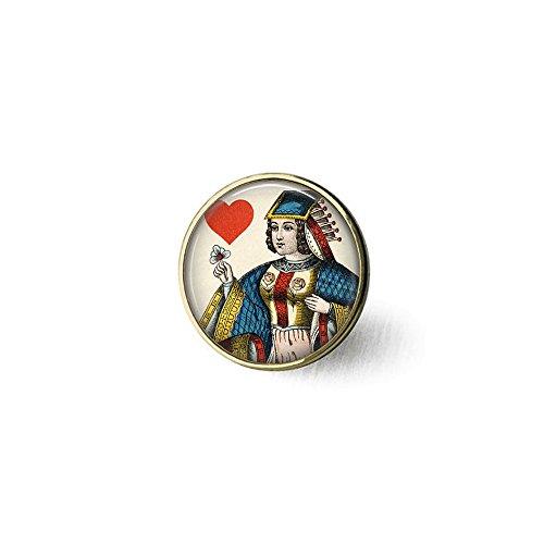 Königin der Herzen Spielkarten-Brosche – Vintage Spielkarten-Schmuck – Queen of Hearts Brosche – Kartenspieler-Geschenk – Gambler-Geschenk