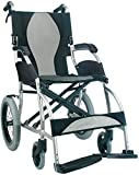 Karman Ergo S-2501F16SS-TP Lite Ultra Lightweight Ergonomic Transport Wheelchair with Companion Hill Brakes Silver, 16
