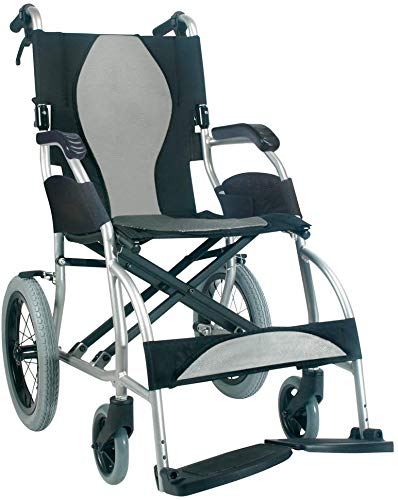 Karman Ergo S-2501F16SS-TP Lite Ultra Lightweight Ergonomic Transport Wheelchair with Companion Hill Brakes Silver, 16' Seat Width, Fixed Wheel & Free Black Wheelchair Seatbelt & Bottle Holder!