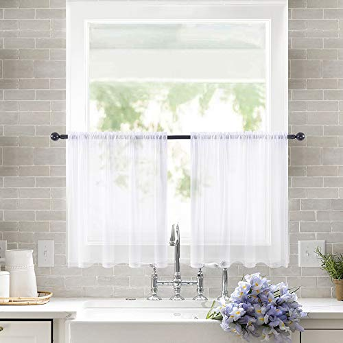 MIULEE 2 Panels Kitchen Tiers Half Window Sheer Curtains Rod Pocket Voile Drapes for Kitchen Bathroom Small Windows 29 by 24 Inch White