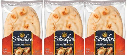Stonefire Mini Naan (Origional) Fresh Authentic Flatbreads, (3 Pack) 12 Mini Flatbreads Total