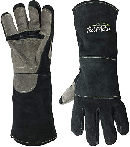 ToolMotive Multi Purpose Leather Welding Gloves 16 Inch Long 932 F High Heat Resistant Grill product image