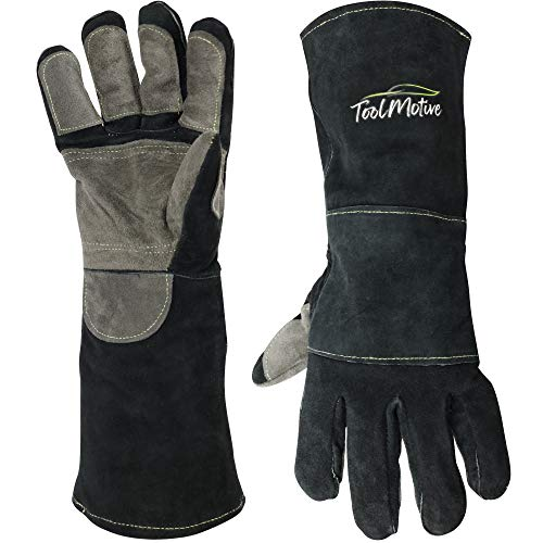 ToolMotive Multi-Purpose Leather Welding Gloves 16 Inch Long- 932°F High Heat Resistant Grill/BBQ Gloves/Welding Gloves with Long Sleeves-Premium Grade
