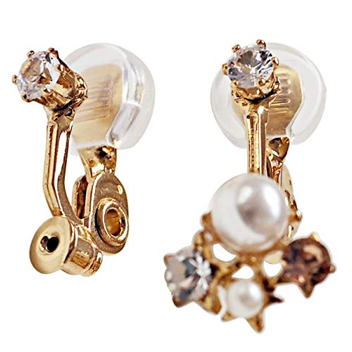 Comfortable Angle Adjustable Clip On Earrings Converters For Women, Pierced Earrings to Clip-on Non Pierced Crystal Gold tone Miyabi Grace