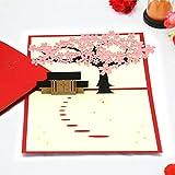 Cartolina d'auguri-rosa romantica creativa della casa della cartolina d'auguri di sakura 3d